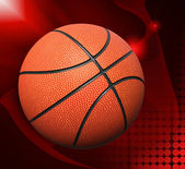 Basket ball over red abstract background — Stock Photo