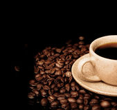 Coffee cup on black background — Stock Photo