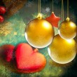 Colorful Christmas decorations - picture in retro style — Stock Photo