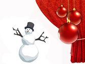 Kardan adam ve noel topları ile kırmızı perde — Stok fotoğraf