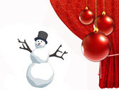 Snowman and christmas balls with red curtain — Stock Photo