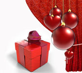 Christmas balls with red curtain and gift box — Zdjęcie stockowe