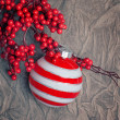 Christmas decoration with berries holly - Stock Photo