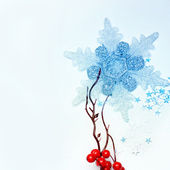 Snowflake and branch of berries — Stock Photo
