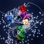 caixas de presente de Natal e estrelas em fundo preto — Foto Stock