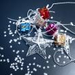 Silver star en geschenkdozen op zwarte achtergrond — Stockfoto