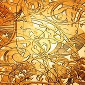 Gold metall-teller mit ornament — Stockfoto