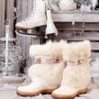 Winter boots. old fashioned style — Stock Photo