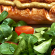 Grilled sausages, mustard and salad — Stock Photo