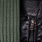 sfondo di cuoio e maglia di lana — Foto Stock #23473994