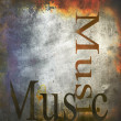 "Stock Photo: Textured old paper background with word ""music"""