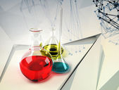 Test tubes science background — Stock Photo