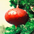 New year ball on a fir — Stock Photo