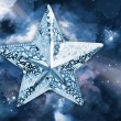 Silver star with ornament space background — Stock Photo