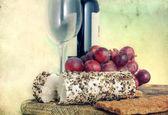 Cheese, grape and wine — Stock Photo