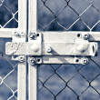 Old lock on metal fence — Stock Photo