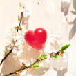 Stock Photo: Spring flowers and red heart candle on wooden table