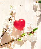 Spring flowers and red heart candle on wooden table — Stock Photo