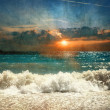 Sea with waves and sunset — Stock Photo