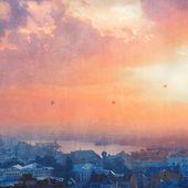Wschód słońca nad miasto — Zdjęcie stockowe