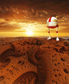 Sunset and robot — Stockfoto