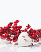 Christmas composition with heart — Stock Photo