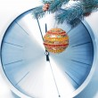 Christmas decorations and clock — Stok fotoğraf
