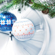 Stock Photo: Christmas decorations and clock