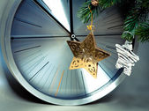 Decorative stars and clock — Stock Photo