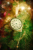 Pocket watch on a christmas tree — 图库照片