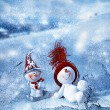 Happy snowmen — Stock Photo