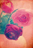 Textured grunge background with red roses — Stockfoto