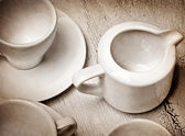 Old paper background with dishes — Stock Photo