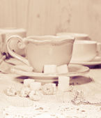 Cup and sugar — Stock Photo
