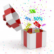 Gift box with discounts — Stock Photo