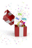 Rote geschenkbox mit rabatten — Stockfoto