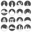 Gray button famous places — Image vectorielle