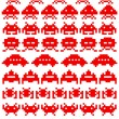 Red silhouettes of space invaders — Stock Vector