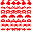 Red silhouettes of space invaders — Stock Vector #32164301