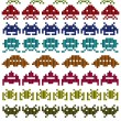 Stock Vector: Colored silhouettes of Space Invaders