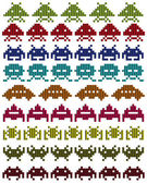Colored silhouettes of Space Invaders — Stock Vector