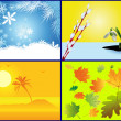 Background in the form of the seasons — Stock Vector