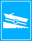 White sign with a boat trailer — Stock Vector