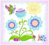 Kelebek, sun flower uğur böceği, salyangoz. — Stok Vektör