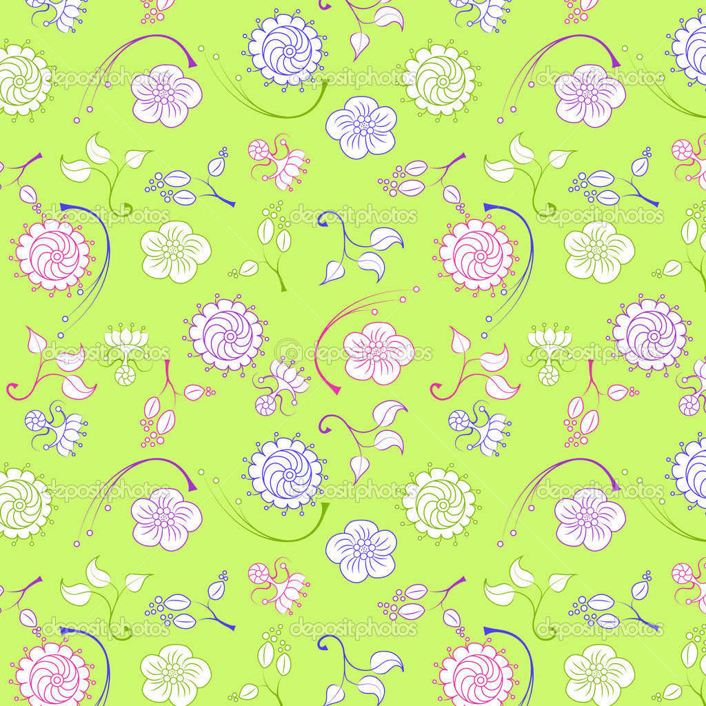 Green pattern with flowers and leaves — Stock Vector #12765445