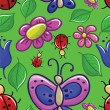 Royalty-Free Stock Vector Image: Seamless texture with flowers and insects