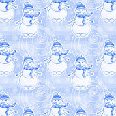 Seamless winter pattern with snowman — Stockvector