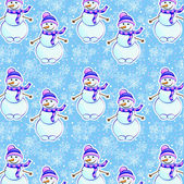 Seamless winter pattern with snowman — Vector de stock
