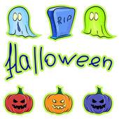 Set of pumpkins, ghosts and gravestones — Stock Vector