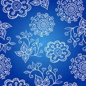 Blå glada mönster med blommor — Stockvektor